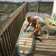 Waxing my old surfboard