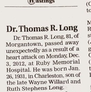 Dr. Thomas Long's obituary